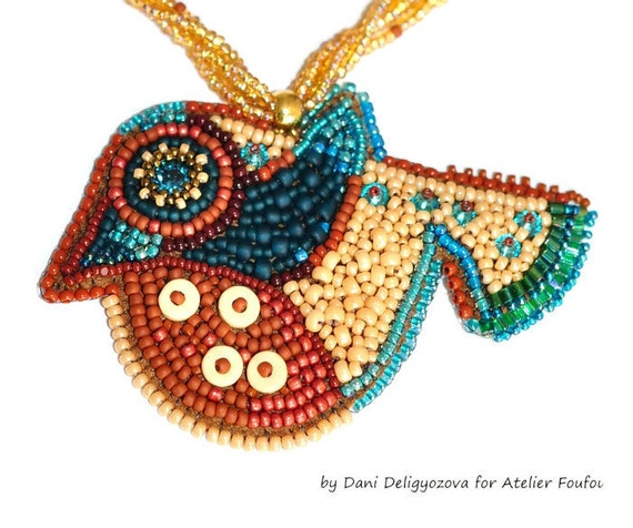Bead embroidery bird art picture by atelierfoufou