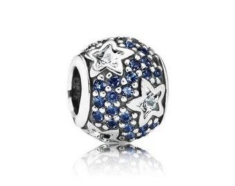 Authentic Pandora FOLLOW THE STARS Midnight Blue Charm Bead
