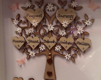 Beautiful Handmade Family Tree Frame 9x9 - choice of colours and number of names