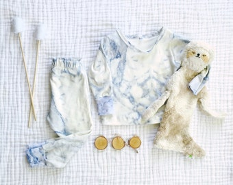 Carrera Marble pajama set / organic knit pajama set / baby toddler child jammies / hip sleep set / baby gift