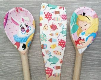 Alice in Wonderland Design Spoon and Spatula Set *Limited Quantity* Decoupage Handmade