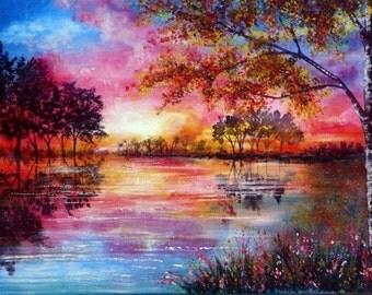 Embroidery, cross stitch, embroidery cross, embroidery landscape, red landscape