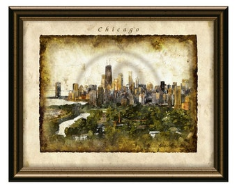 Chicago Printable,Chicago Wall Art,Chicago Cityscape,Chicago Digital Print,Chicago Skyline,Instant Download,Chicago Watercolor,Chicago Gift