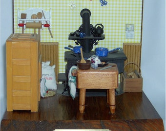 Miniature vignette, 1900s kitchen,