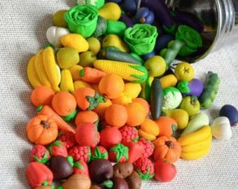 Сhildren's toy fruit and vegetables Polymer clay pretend play food Educational games Preschool toy Kitchen game  Educational toys Montessori