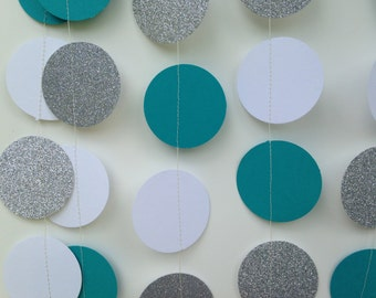 Teal White and Silver glitter circle paper garland Bridal shower Baby shower decoration Wedding Reception Decor Birthday Party