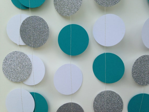 Teal White And Silver Glitter Circle Paper Garland Bridal