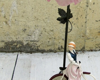 Table lamp, Lovely vintage lamp, Women bicycle lamp, Home decor lamp, Vintage lamp, Pink color lamp