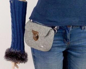 Grey waist bag, belt bag, bumbag, fanny pack, felted, cell phone bag