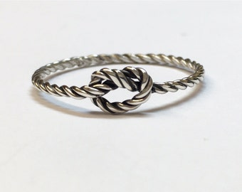Sterling silver rope love knot ring, silver love knot, nautical knot ring