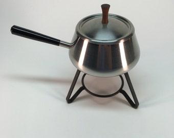 Spring Swiss handled/lidded sauce warmer/fondue pot with metal tripod base