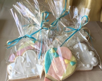 Hot air balloon cookies, Hot air balloons and clouds cookies, baby shower hot air balloon theme