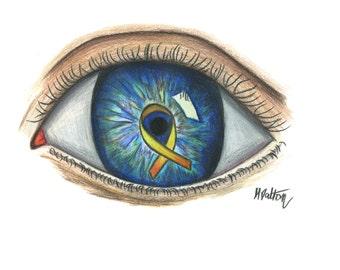 Yellow Ribbon Eye Print