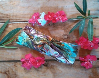 Turban stamped tropical with Palm trees. Turban headband tropical palms print.