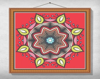 CROSS-STITCH-PATTERN-Mandala-Complexe, Instant download pdf