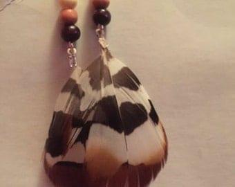 Handmade Feather Post Dangle Earrings