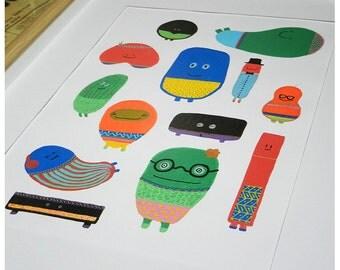 Fait main - Illustration colorée pour enfant ou adulte - Série Les Chewing-gums