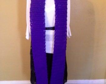 Amethyst Puff Stitch Crochet Scarf