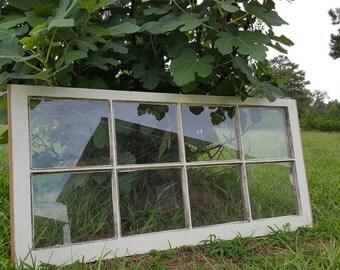 8 Pane Vintage Antique Wood Window Frame Sash Farm House Picture Frame 36x19