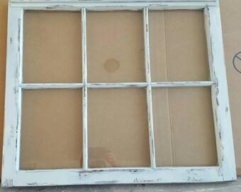 vintage antique farm window sash frame 6 pane 36x27 unique painted shabby distressed rustic cottage wedding