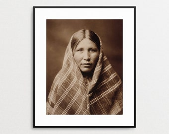 Edward Curtis Print - Native American Art - Native American Portrait - Nespilim - North American Indian - Wall Art -  Vintage Photo