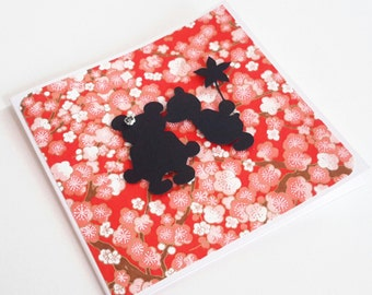 "Teddy Bears Saint Valentin card with japanese paper ""model 2"""