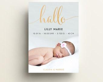 """Babykarte / Geburtsanzeige """"Hallo"""", DIN A6 hoch"""