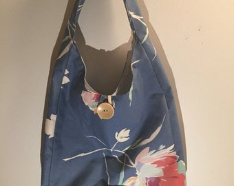 Blue Floral Over the Shoulder Tote