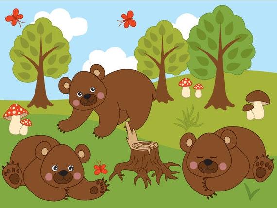 BUY 1 GET 1 FREE Woodland Bears Clipart Digital by TanitaArt