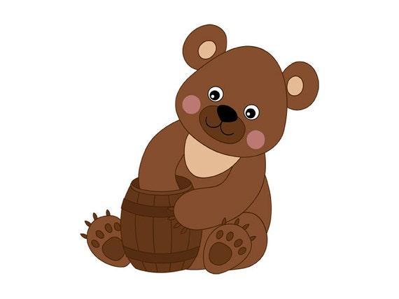 Bear Clipart Digital Vector Bear Forest Animal Honey by ...