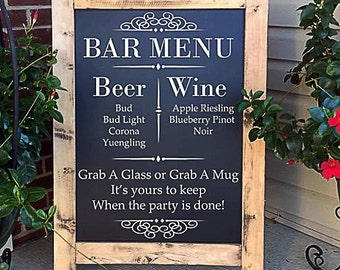 Large Wedding Bar Sign - Custom Bar Sign - Drink Menu Sign - Wedding Drinks - Rustic Wedding Sign - Wedding Chalkboard Sign - Wood Bar Menu