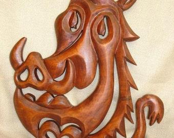 Pumba, Lion king Pumba, Wooden Pumba, Lion King nursery, Pumba nursery, Wood carving Pumba, Carving wall Pumba