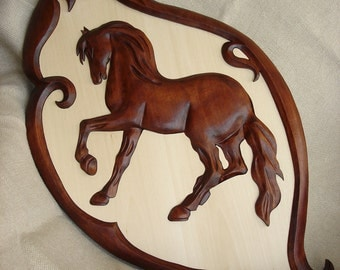 Wooden Horse,  Wood carving,  Carving wall Horse,  Hand made Horse