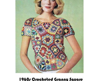 Vintage Pattern Crochet Granny Square Shell Top with Curved Hem PDF Download.
