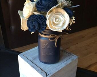 Navy mason jar centerpiece, sola flower mason jar, wedding centerpiece, mason jar with flowers, navy flowers, mason jar decor, navy decor