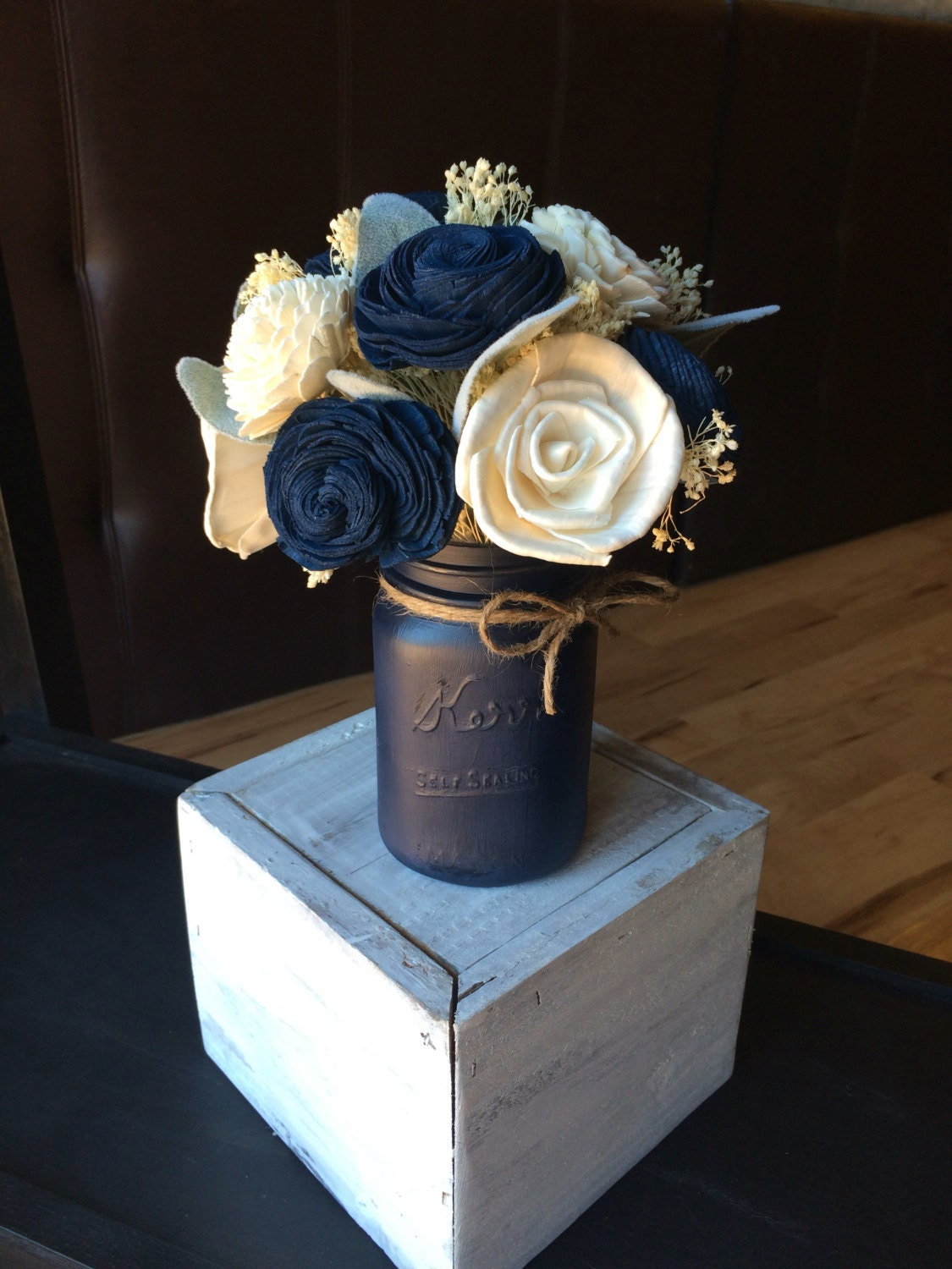Navy mason jar centerpiece sola flower wedding