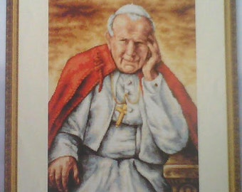 Cross-Stitch PATTERN Pope John Paul II. Portrait cross-stitch Pope John Paul II.  Pattern