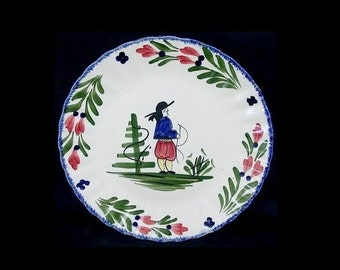 "Blue Ridge Plate FRENCH PEASANT 9.25"" Lunch Vintage Southern Potteries Hand Painted Colonial Dinnerware Cobalt Blue (B1) 7384"