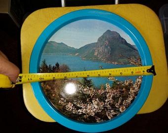 Vintage Hawaiaan Blue Tin Platter