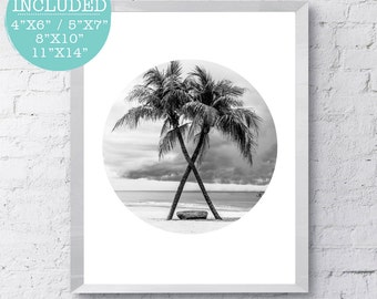 Palm Tree Photo, Summer Art, Surf Photography, Palm Tree Print, Beach Print, Summer Decor, Beach Decor, Beach Photography, Surfing Art