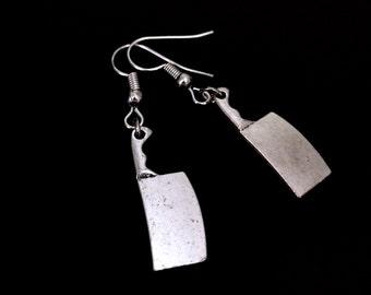 Cleaver Earrings, Knife Earrings, Halloween Jewelry, Gothic Jewelry, Grunge Earrings, Horror Jewelry, Silver Knife, Horror Movie