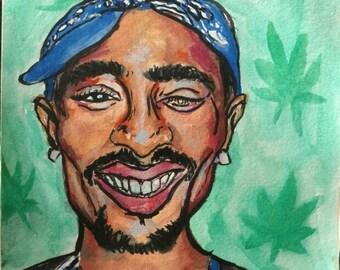 Tupac 9x6 original gouache painting