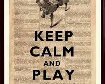 Piano Print, Keep Calm Play Piano, Piano Wall Art, Music Poster, Gift For Pianist, Music Art Print