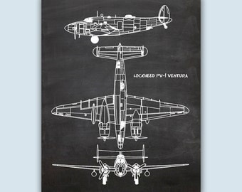 Airplane Poster, Chalkboard Print, Airplane Decor, Pilot Gift, Airplane Art, Aviation Poster, Aviation Gifts, Lockheed PV-1 Ventura