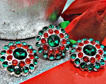 Green And Red Rhinestone Buttons Acrylic Rhinestone Buttons Garment Rhinestone Buttons Coat Buttons Sewing Buttons 24mm 3190 6 3 6R