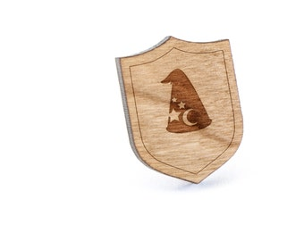 Wizard Hat Lapel Pin, Wooden Pin, Wooden Lapel, Gift For Him or Her, Wedding Gifts, Groomsman Gifts, and Personalized
