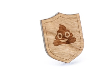 Poop Emoji Lapel Pin, Wooden Pin, Wooden Lapel, Gift For Him or Her, Wedding Gifts, Groomsman Gifts, and Personalized