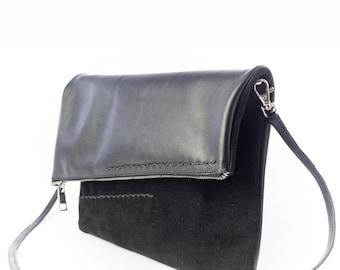 Black Leather Shoulder Bag, Black Leather, Foldover Shoulder Bag