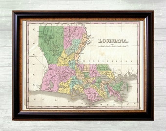 Antique Map of Louisiana from 1827 - Instant Download - Printable Art