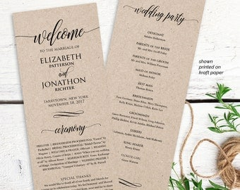 Wedding Program Printable, Order of Service, Rustic Ceremony Program Template, Instant Download, Editable Text, PDF Template, Digital #201WP